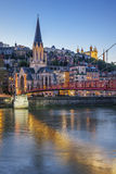 Vertical view of Lyon with Saone river Royalty Free Stock Photography