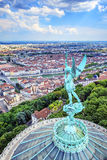 Vertical view of Lyon from the top of Notre Dame de Fourviere Stock Photography