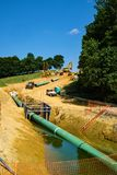Vertical View of Mountain Valley Pipeline, Bent Mountain, Virginia, USA Royalty Free Stock Image