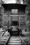Vertical view of old wagon in concentration camp Stutthof Stock Photos