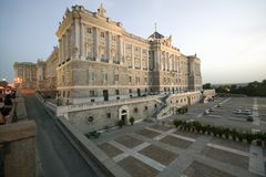 Vertical view of the Royal Palace in Madrid, Spain Royalty Free Stock Image