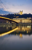 Vertical view of Saone river at Lyon by night Stock Photos