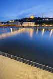 Vertical view of Saone river at Lyon by night Royalty Free Stock Photography