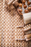 Vertical view of sauna composition on wicker Stock Photos