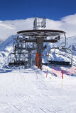 Vertical view of ski lift chairs Stock Images