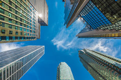 Vertical view of skyscrapers in downtown Stock Photo