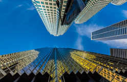 Vertical view of skyscrapers in downtown Stock Photos