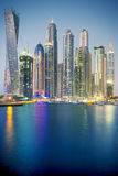 Vertical view of Skyscrapers in Dubai, special photographic proc Stock Photography