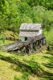 Vertical View of Slone's Grist Mill – Explore Park, Roanoke, Virginia, USA. Roanoke County, VA – May 6th; Vertical view Slone's Grist stock images