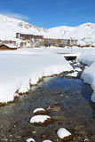 Vertical view of Tignes village Royalty Free Stock Image