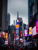 Times Square in New-York, USA. Vertical view of Times Square, one of the most famous and animated places in the world, New York, United States of America stock images