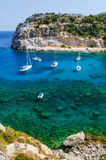 Vertical view for tourist paradise bay on Rhodes Stock Images
