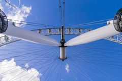 Vertical view from underneath the London Eye. Looking into a clear blue sky Royalty Free Stock Photos
