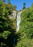 Vertical view of waterfall in Wales stock image
