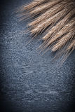 Vertical view wheat ears on vintage wood board Stock Photo