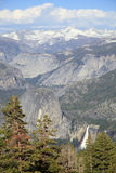 Vertical View of Yosemite Mountains stock photo