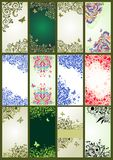 Vertical vintage floral banners. Collection of vertical vintage floral banners Stock Photography