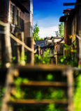 Vertical vintage wild west western town. Blurred bokeh decoration background backdrop Stock Image