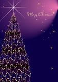 Vertical violeta da árvore do ano novo. Ilustração do Vetor