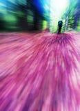 Vertical vivid autumn hike radial blur background Stock Image
