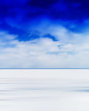 Vertical vivid blank empty winter lake horizon landscape with cl Stock Photos