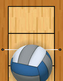 Vertical Volleyball and Volleyball Court Background Illustration Stock Photo