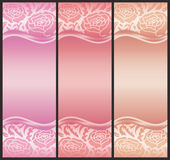 Vertical voucher with rose decoration in pink tone Stock Photography