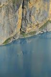 Vertical wall and Oeschinensee. Kandersteg. Berner Oberland. Switzerland Stock Image