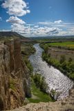 Vertical walls next to the river. Hiking, abrupt. Almost vertical scarp of an area in Pigheaded one of Pisuerga in the province of Valladolid Spain stock images
