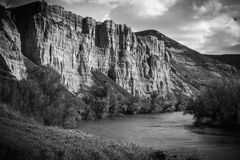 Vertical walls next to the river. Hiking, abrupt. Almost vertical scarp of an area in Pigheaded one of Pisuerga in the province of Valladolid Spain stock photography