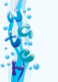 Vertical water background. Beautiful  vertical water background with bubbles Stock Photography