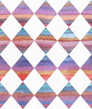 Vertical watercolor texture based on seamless stripe pattern and rhombus background, watercolor paper, hand drawn with brush and l Royalty Free Stock Photo