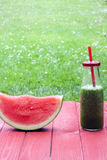 Vertical watermelon smoothy Royalty Free Stock Photography