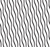 Vertical Waves, Black and White Vector Seamless Pattern. Stock Photos