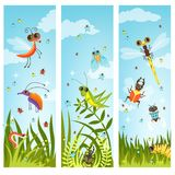 Vertical web banners with illustrations of cartoon insects vector illustration