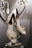 Vertical: Wedding Shoes with Crystal Lamp Royalty Free Stock Images
