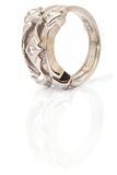Vertical white gold ring Royalty Free Stock Images