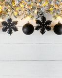 Vertical Black Christmas Banner, White Wood, Copy Space Stock Images