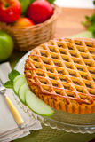 Vertical whole apple pie tart pastry delicious golden brown lattice Royalty Free Stock Photography