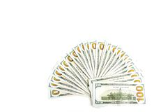 Vertical Widespread of Money, American One Hundred Dollar Bills or Bank Notes. Money, vertical shot of american one hundred dollar bills isolated on white royalty free stock photos