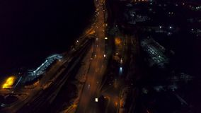 Vertical wierzchołka puszka widok z lotu ptaka nocy panorama duży miasto zbiory