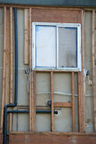 Vertical of a window under construction with framework Royalty Free Stock Photography