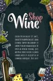 Vertical wine label or poster. Wine Shop lettering. Stock Images