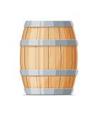 Vertical Wooden barrel for wine or beer. Container beverage. Vintage oak Cask. Isolated white background. Vector illustration royalty free illustration