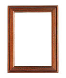 Vertical Wooden Photo Frame isolated on white background Stock Photo