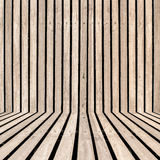 Vertical wooden strip room perspective background Stock Photos