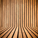 Vertical wooden strip room perspective background Royalty Free Stock Photography