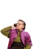 Verticale aînée - téléphone portable Photographie stock libre de droits