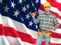 Verticale américaine d'ouvrier Photographie stock libre de droits