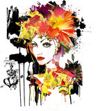 Verticale artistique d'un femme Photo stock